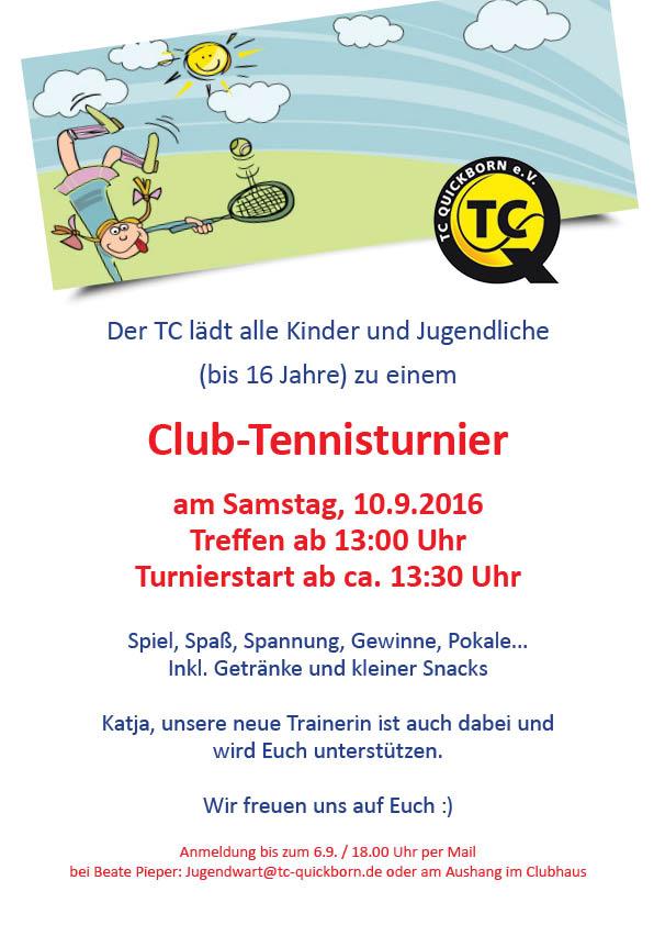 Club-Tennisturnier am Samstag, 10.09.2016